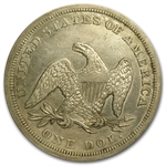 1845 Liberty Seated Dollar Almost Uncirculated Details - Cleaned